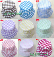 Stingy Brim Hat As the picture fashion hat 100pcs lot New checked shinning style Bucket Summer Hat,children fashion hot plaid cap (TM-4)