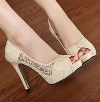 apricot shoes - Chic Lace Apricot Black Laser Cut Peep Toe CM Heel CM High Platform Stiletto Dress Shoes