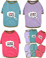 Wholesale hot sale Cotton quot I LOVE MY quot Series Print Dog T shirt Dog Pets Clothes Love Mom Dad