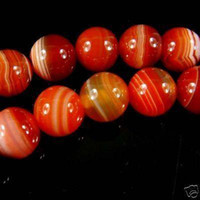 Wholesale 10mm Natural Red Stripe Agate Onyx Gem Round Loose Bead