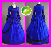 wedding dresses long sleeved - Long Sleeved Black Lace Royal Blue Vintage Gothic Victorian Wedding Dresses Custom Lolita Cosplay