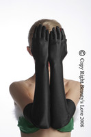 Wholesale Sexy black satin Long Gloves party gloves cm length gloves item No