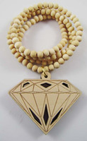 Wholesale Hip Hop good quality wood necklace diamond Pendant wooden necklace jewelry More Cheaper