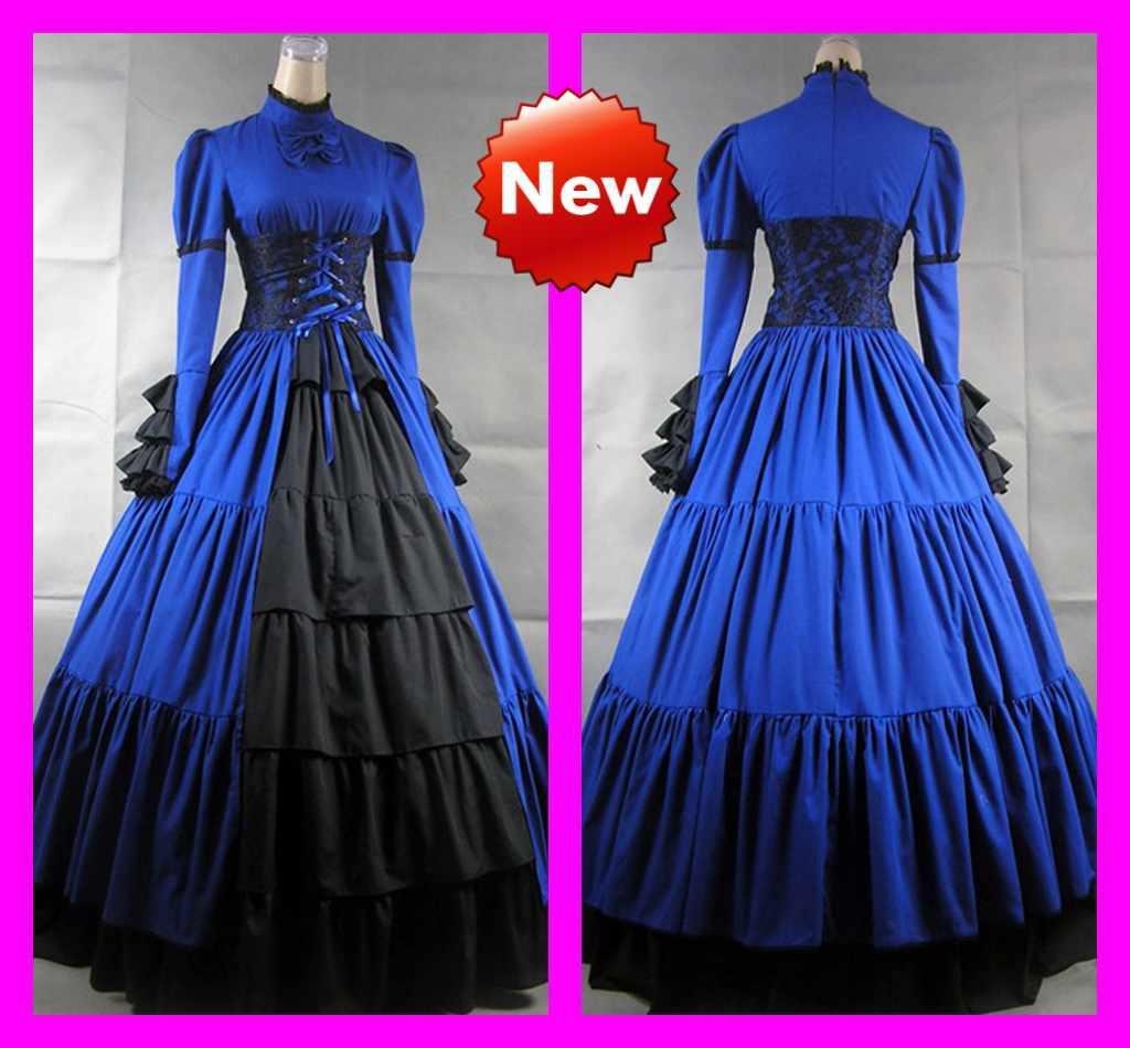 Discount Royal Blue High Collar Long Sleeve Lace A Line Lolita ...