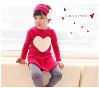 Wholesale Autumn Children Clothes Set Girl Clothing Korean Love Long Sleeve TShirt leggings Pants sets