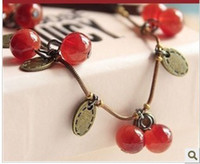 Alloy beaded glass ornaments - Hot New Personalized Glass retro sweet cherry Bracelet lady sweet ornaments jewelry Beaded Strands Bracelets