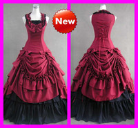 Wholesale Wine Red Black Elegant Cosplay Ruffles Romantic Bow Hot Costumes Victorian Gothic Lolita Dresses