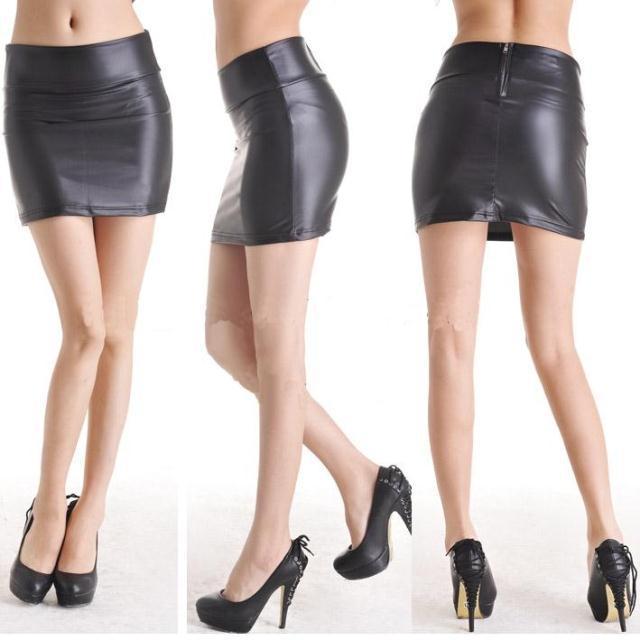Korean Short Dress Faux Leather Dress High-cut Mini Skirt Wrap Hip ...