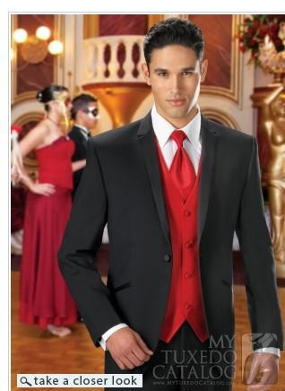 Popular Black One Button Groom Tuxedos Men'S Suits Groom Prom ...