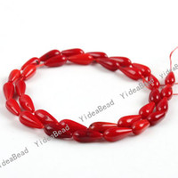 Wholesale 64pcs Coral Beads Red Drop Shaped Charms Gemstone Loose Beads in Stock Fit Bracelets DIY