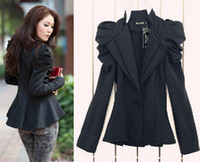 Wholesale Amazing Ladies Black Suit Blazer One Button Shrug Shoulder Jacket Coat double Collars M L JE52