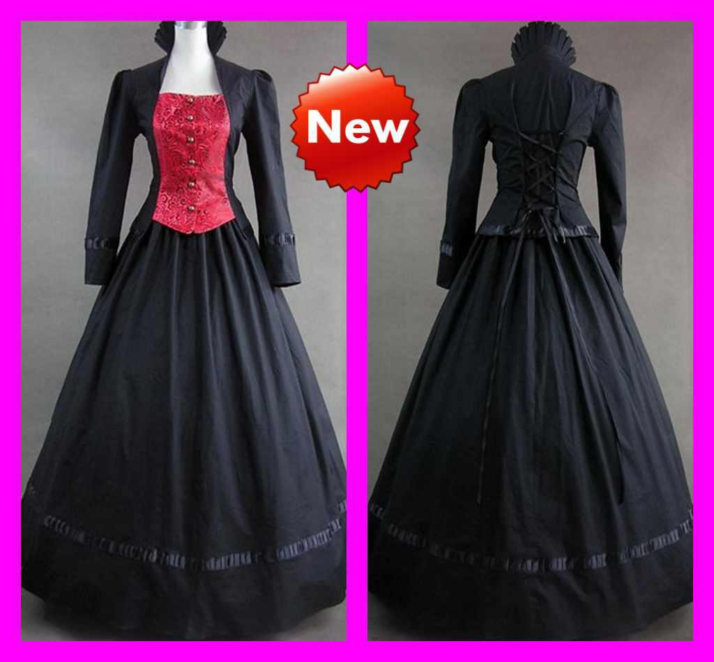 Discount Black Red Elegant Lolita Cosplay A Line Long Sleeve Floor Length Wedding Gothic