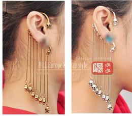 Piercings punky de la borla del cráneo de Stud Fake Clip de Pendientes largos de cadena del oído Cuff Selling # 6128
