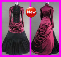 Wholesale High Collar Long Sleeved Elegant A Line Vintage Hot Lolita Dress Gothic Victorian Wedding Dresses