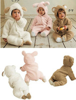 Wholesale New children kid baby Cute cartoon animal fall winter long sleeved One Piece babe Romper white pink brown edison168