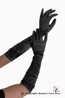 Wholesale Sexy Ruched Opera length black Satin gloves cm length gloves item No