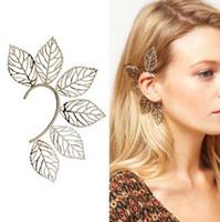Women's big beautiful earrings - New style Unique Big Leaf EAR CUFF Ear Cuff Earrings Beautiful charming ear cuff earring Studs