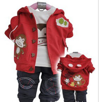 Wholesale 3pcs baby suits children clothes spring autumn outer hoody cotton T shirt pants toddler sweat suits