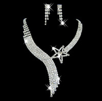 Wholesale wedding Bridal Jewelry set fashion shiny star crystal Necklace and Earrings wt027