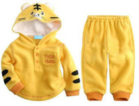 Wholesale Baby Yellow Tiger Suit Animal Set Toddlers Outfit Hoodies Sweater Pants Trouser Children Attire