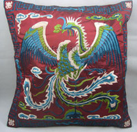 Wholesale Ethnic Pillow Cover Embroidery Designs x18 inch High End Chinese Satin Phoenix Pattern Free