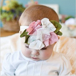 Wholesale Baby headband elastic lace adorned with big chiffon flower months to years