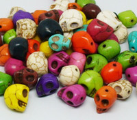 Wholesale 100pcs Mix color Skull head bead Turquoise Gemstone Loose Beads Fit Bracelet Necklace DIY bracelets