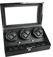 Wholesale LUXURY Automatic Watch BLACK WATCH WINDER STORAGE DISPLAY CASE BOX AUTOMATIC ROTATION Box