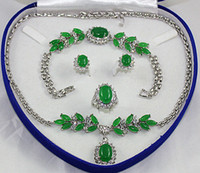 Wholesale Fashion Silver Green Jade Necklace Bracelet Earring Ring Sets Gemstone Jewelry Sets