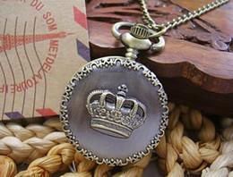 Wholesale Best match Bronze crown engraved pocket watch pendant necklace table alloy necklace