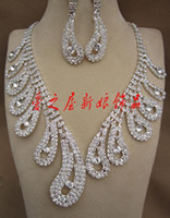 Alloy   DHgate Attractive Rhinestone Necklace Earring Set Bridal Wedding Party Jewelry Bridal Accessories