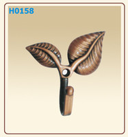 Wholesale Two Leaves Door Hooks Bronze Hangers Coat and Hat Hook Curtain accessaries able mix order
