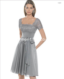 Wholesale Girls Party Dress Square Neck Short Sleeve A line Flowing Grey Chiffon Lace Cocktail Dress for Women