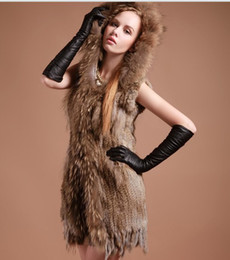 Wholesale Winter Colors Long Hooded Knitted Rabbit Fur Vest Clothing With Raccoon Fur Collar Trim