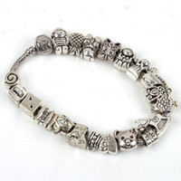 Wholesale FREE SHIP Mixed Antique Silver Tone Beads Fit European Charm Bracelet