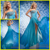 Wholesale 2012 Elegant Blue One shoulder Chiffon Beads Ruched Long NEW Prom Evening Formal Dresses Dress Gowns
