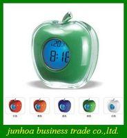 alarm clock apple - Popular Crystal Apple Voice Alarm Clocks LED Colorful Calendar Clock