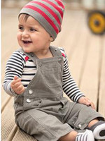 Wholesale Boy s outfits romper Bib cap long sleeve stripe cute brown sets