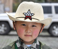Wholesale Five pointed star children straw hat Cowboy cap Baby sun hats Children summer caps