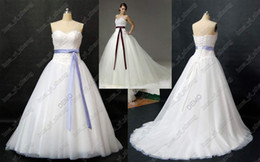Wholesale Bride Wars Sexy Tulle Ball Gown Wedding Dresses Sweetheart Lace Appliqued Lavender Sash Ribbon