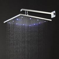 Wholesale 12 quot brass showerheads led chrome plated led rainfall shower head