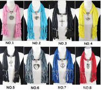 Wholesale Lady Scarf Jewelry Pendant Necklace Pendant Scarves Fashion Scarf Mixed Design amp Colors pc