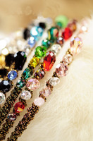 Wholesale 6250 Korean style Headband Colorful Irregular Crystal Gold Cord Around The Hoop Beaded Headband
