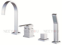 Wholesale 4 Square bathroom tub and shower mixer cold and hot separated sink mixer NY04812