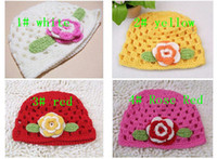 Girl Spring / Autumn 0-12 Months Free Shipping 10pcs Mix 4 color Baby flower hat brimmed cap baby crochet hats