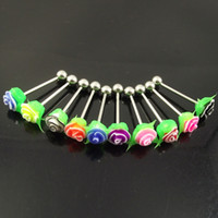 Wholesale 50pcs mixed colors rose tongue ring flower tongue nail body piercing jewelry