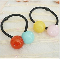 Wholesale HOT women and children candy color two ball Hair Band hairwear Hair Rubber Bands
