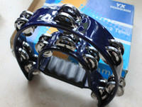 Wholesale DOUBLE HALF MOON TAMBOURINE percussion tamborine drum blue TW