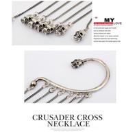 Wholesale NEW Charms Long Tassel Punk Skull Clip On Earrings Ear Chain Cuff
