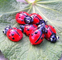 Multicolor Millefiori Glass Colorful Ladybug Beads 12mm Mixe...